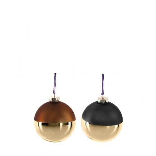 Krogla steklena »VELLUTO« 8 cm v rjavih in sivih odtenkih v kombinaciji z zlato barvo