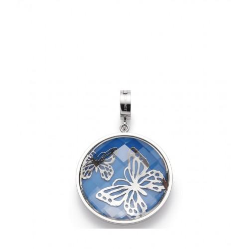 Obesek za ogrlico »ILARIA« moder z metuljem