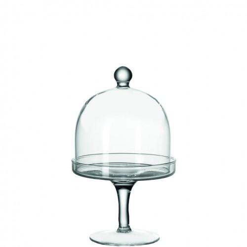 Krožnik na nogi s pokrovom »DOLCE« steklen