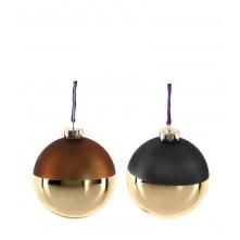 Krogla steklena »VELLUTO« 10 cm v rjavih in sivih odtenkih v kombinaciji z zlato barvo