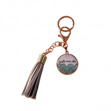 Obesek za ključe »POMPON« v rožnato zlati barvi